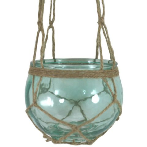 Green Glass Hanging Macrame Candle & Plant Holder